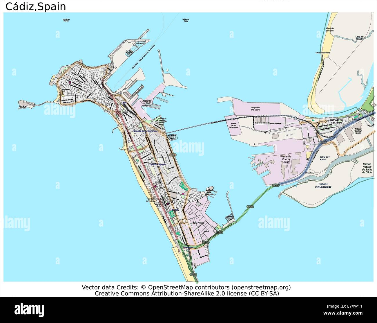 Cadiz Spain Country city island state location map Stock Vector Art on