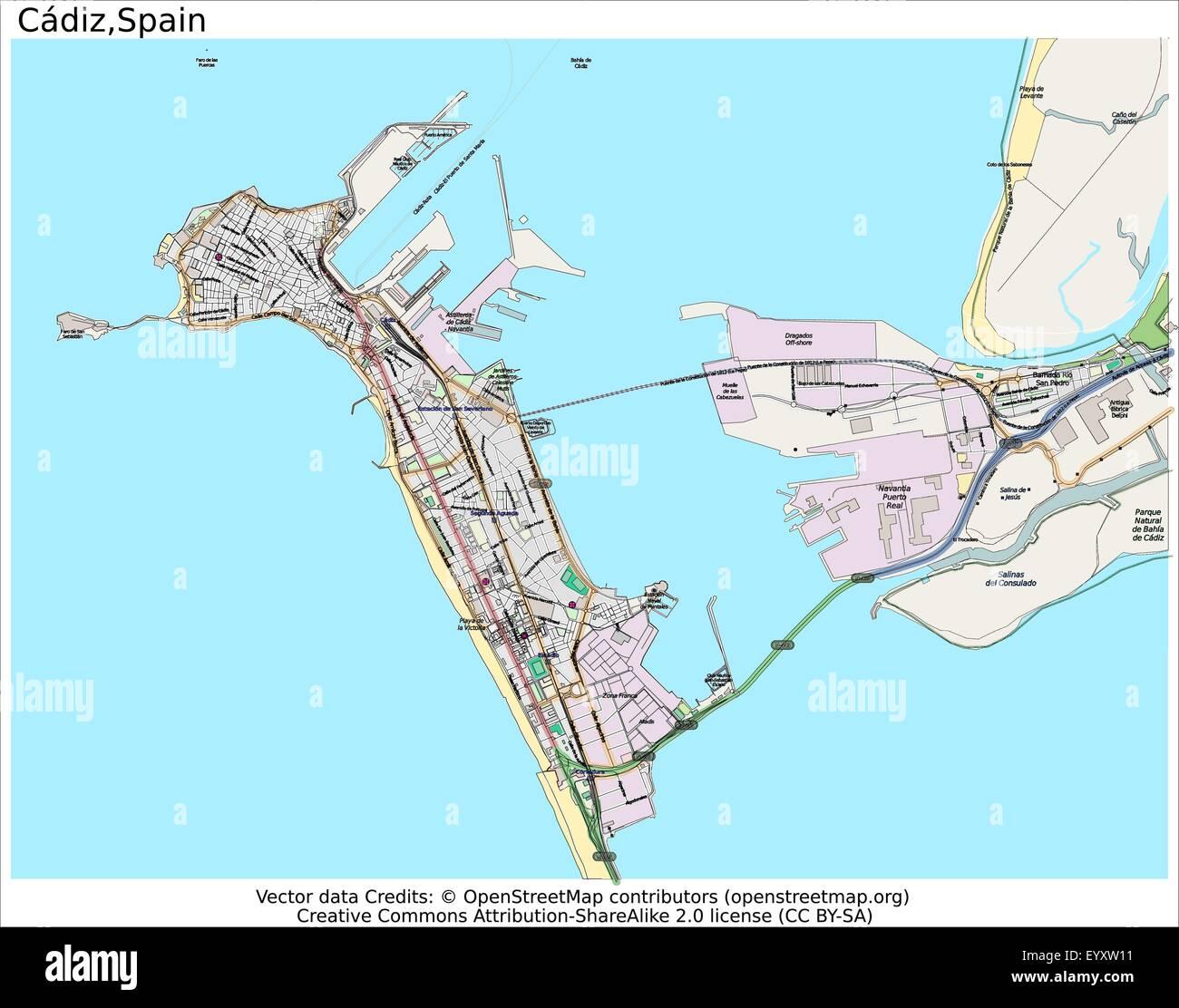 Cadiz Spain Country City Island State Location Map Stock Vector Art