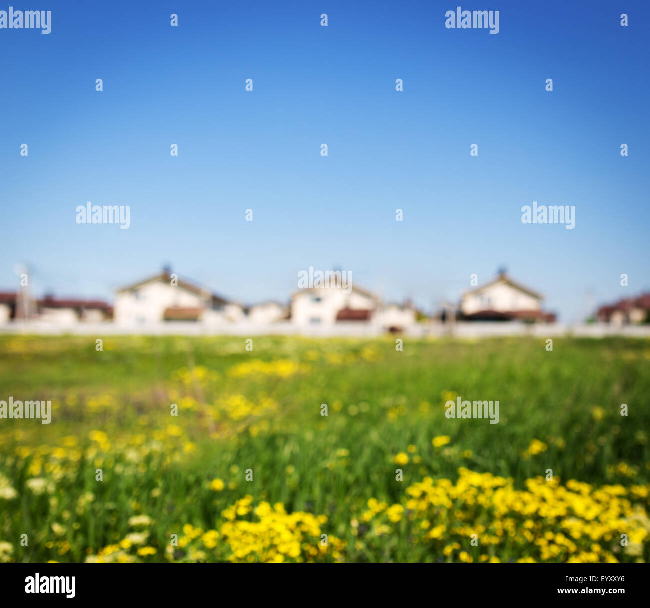 Group of houses in the countryside. Defocused photo - Stock Image