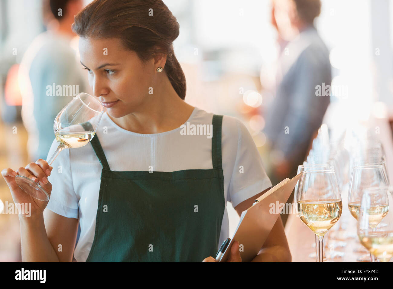 Winery employee smelling white wine in tasting room - Stock Image