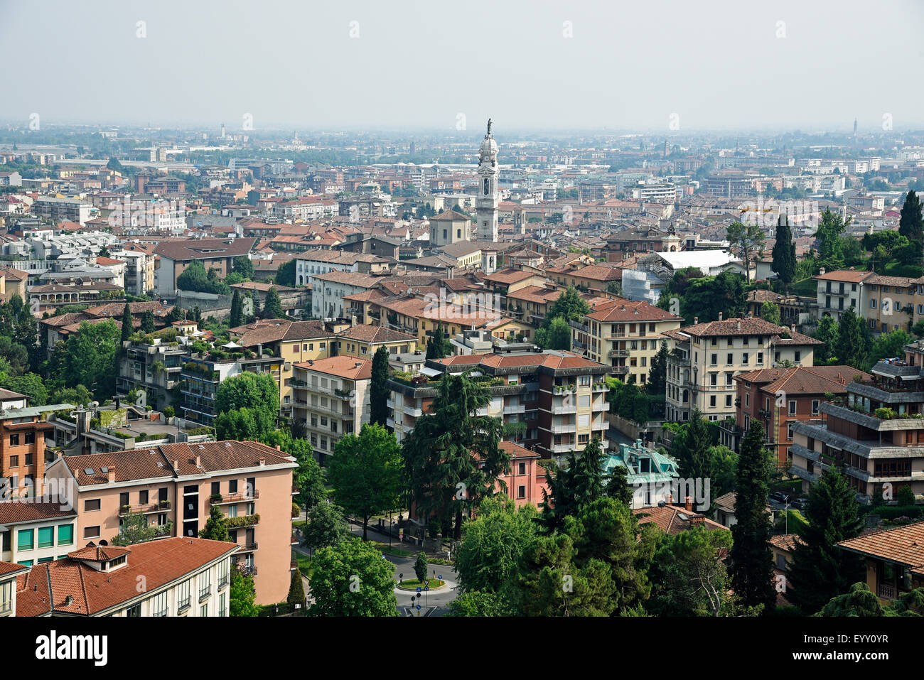 Cityscape, view of the lower town, Bergamo, Lombardy, Italy Stock Photo
