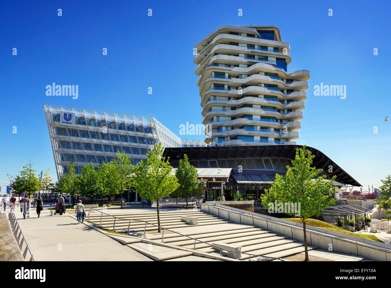 Unilever centre and Marco Polo Tower at Strandkai in the harbor city, Hamburg, Germany - Stock Image