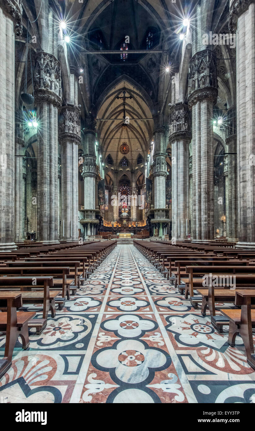 Ornate architecture and tile mosaics in Duomo di Milano, Milan, Italy - Stock Image