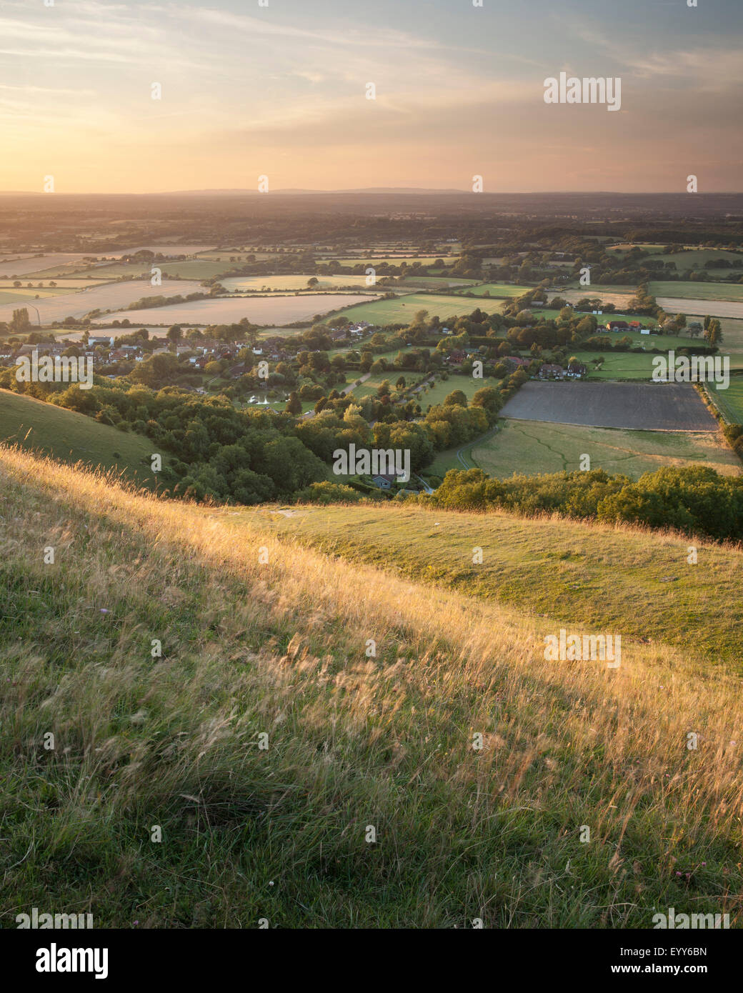 The view from the South Downs near Devil's Dyke to the village of Fulking, West Sussex, England - Stock Image