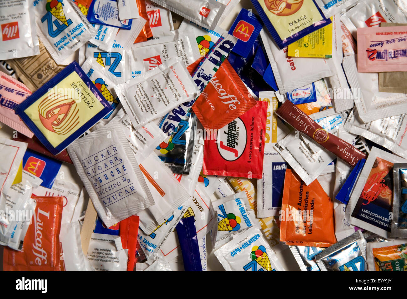 a lot of small sugar bags, Österreich - Stock Image