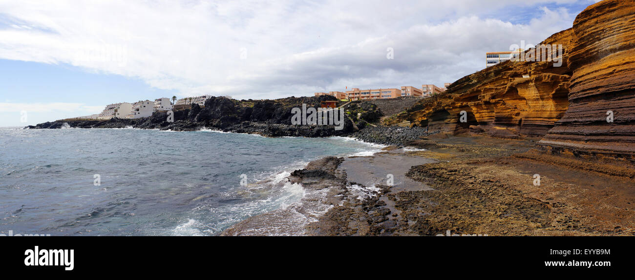 bay and cliffline near Monte Amarillo, Spain, Canary Islands, Tenerife, Las Calletas - Stock Image