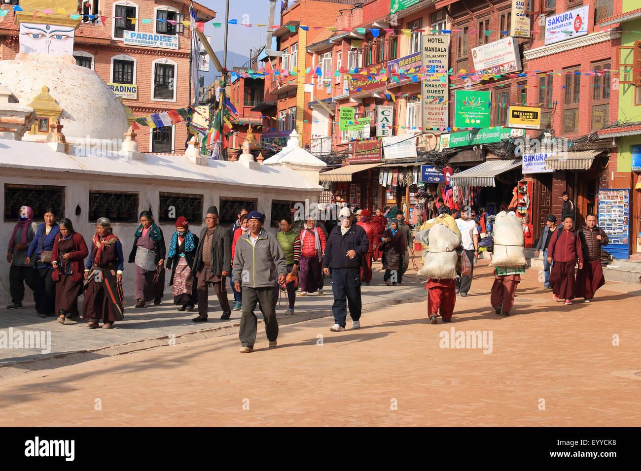inner city of Bodnath, around the Stupa, Nepal, Kathmandu - Stock Image