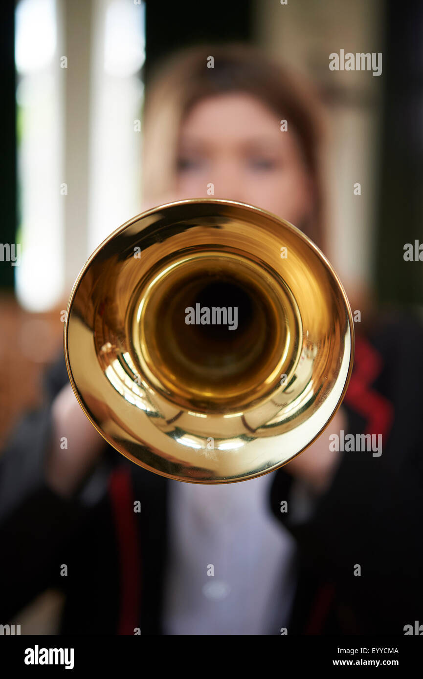 trumpet playing Stock Photo