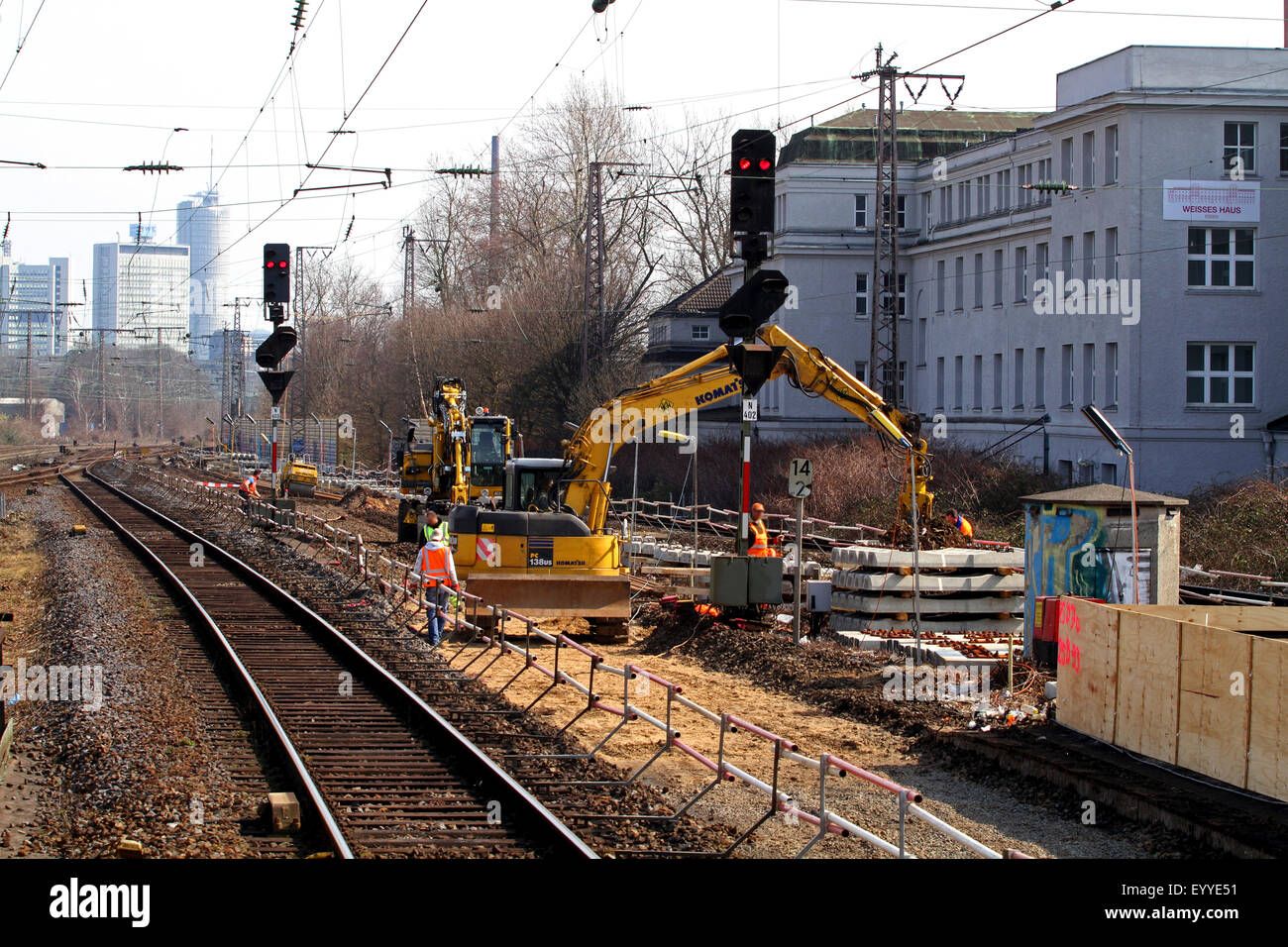 railway construction with rail-roader excavator, Germany - Stock Image