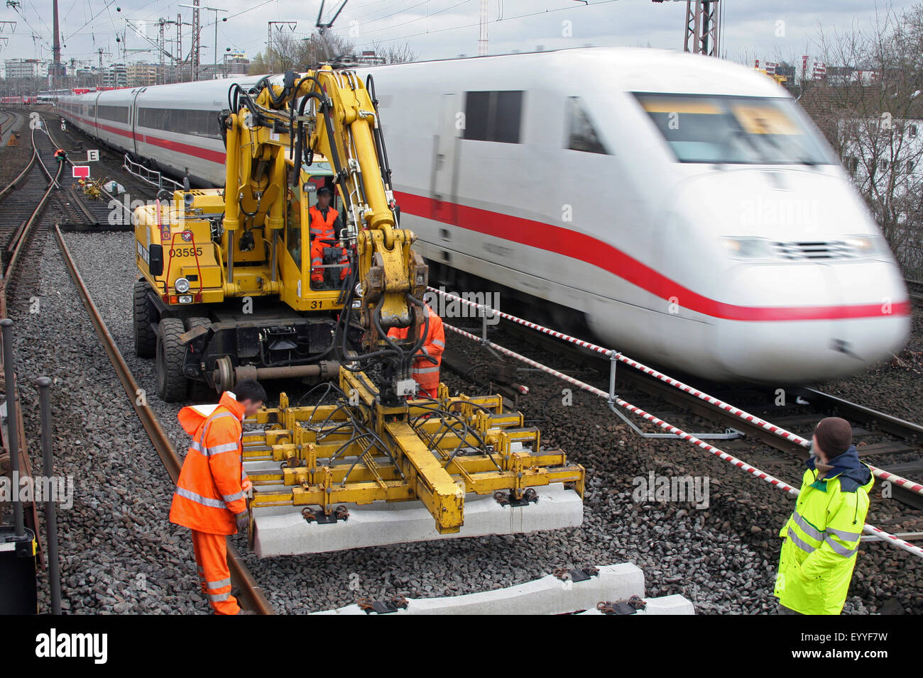 track works and Intercity-Express, Germany - Stock Image