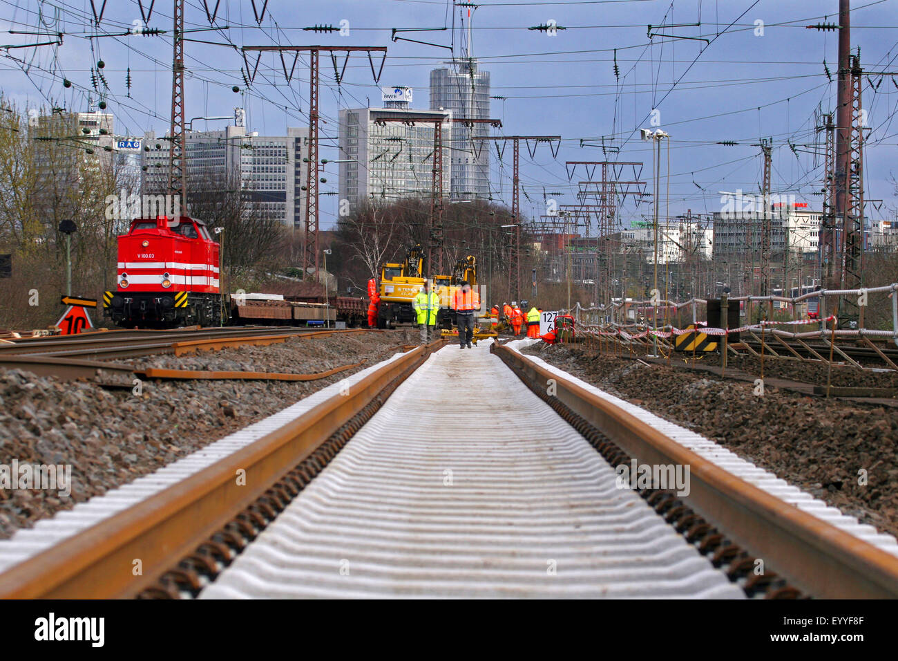 track construction work, new trackbed, Germany - Stock Image