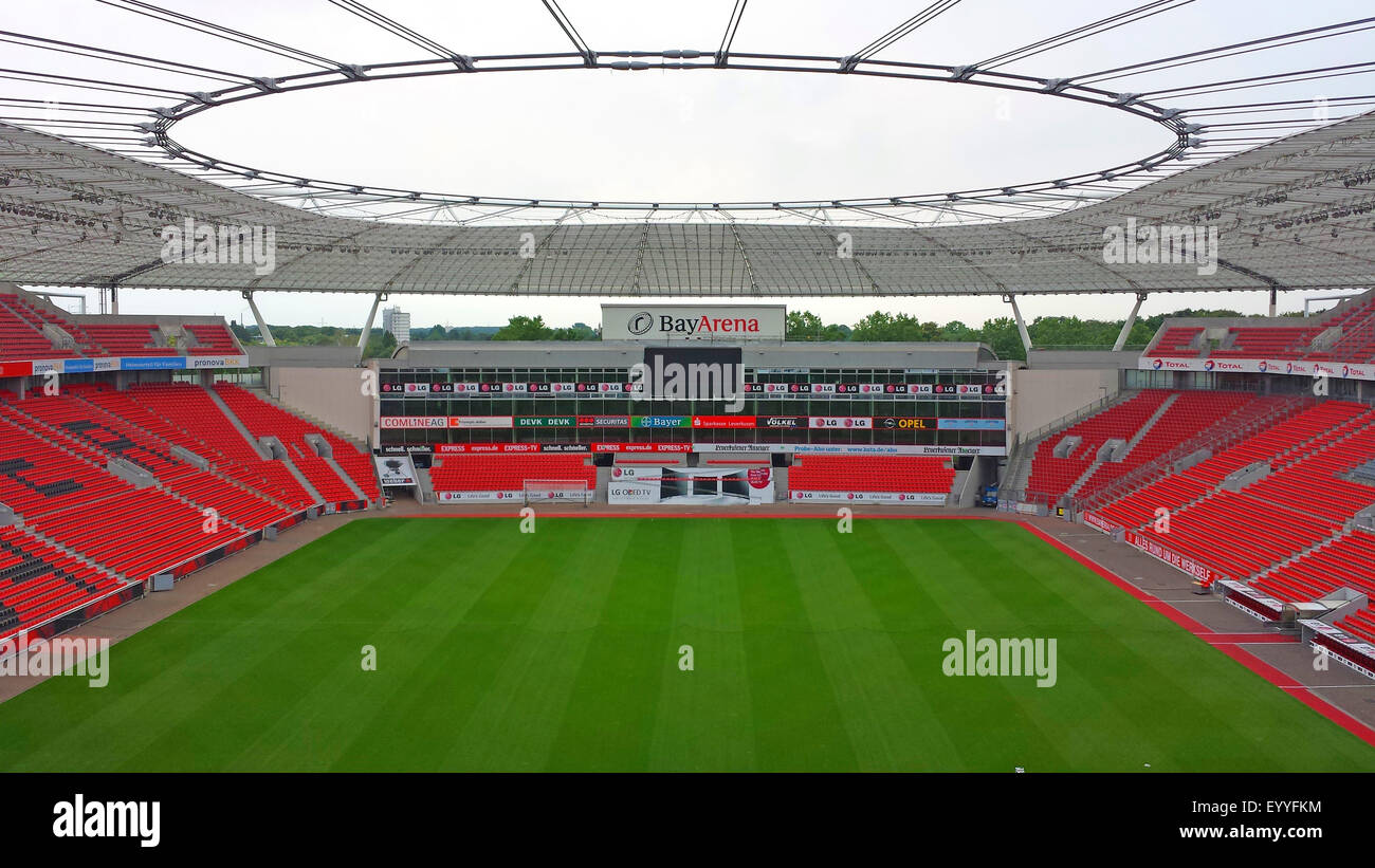 football stadion BayArena, home ground of Bundesliga club Bayer Leverkusen, Germany, North Rhine-Westphalia, Leverkusen - Stock Image