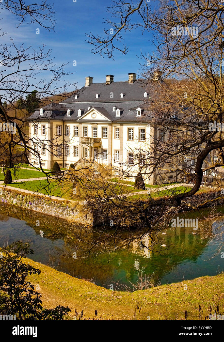 Koertlinghausen Castle in spring, district Kallenhardt, Germany, North Rhine-Westphalia, Ruethen - Stock Image