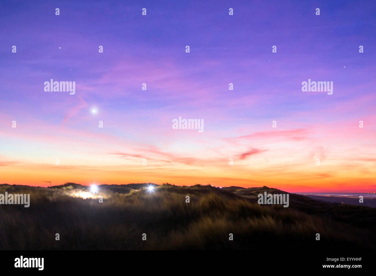 planet Venus over island Juist, Germany, Lower Saxony, Juist - Stock Image