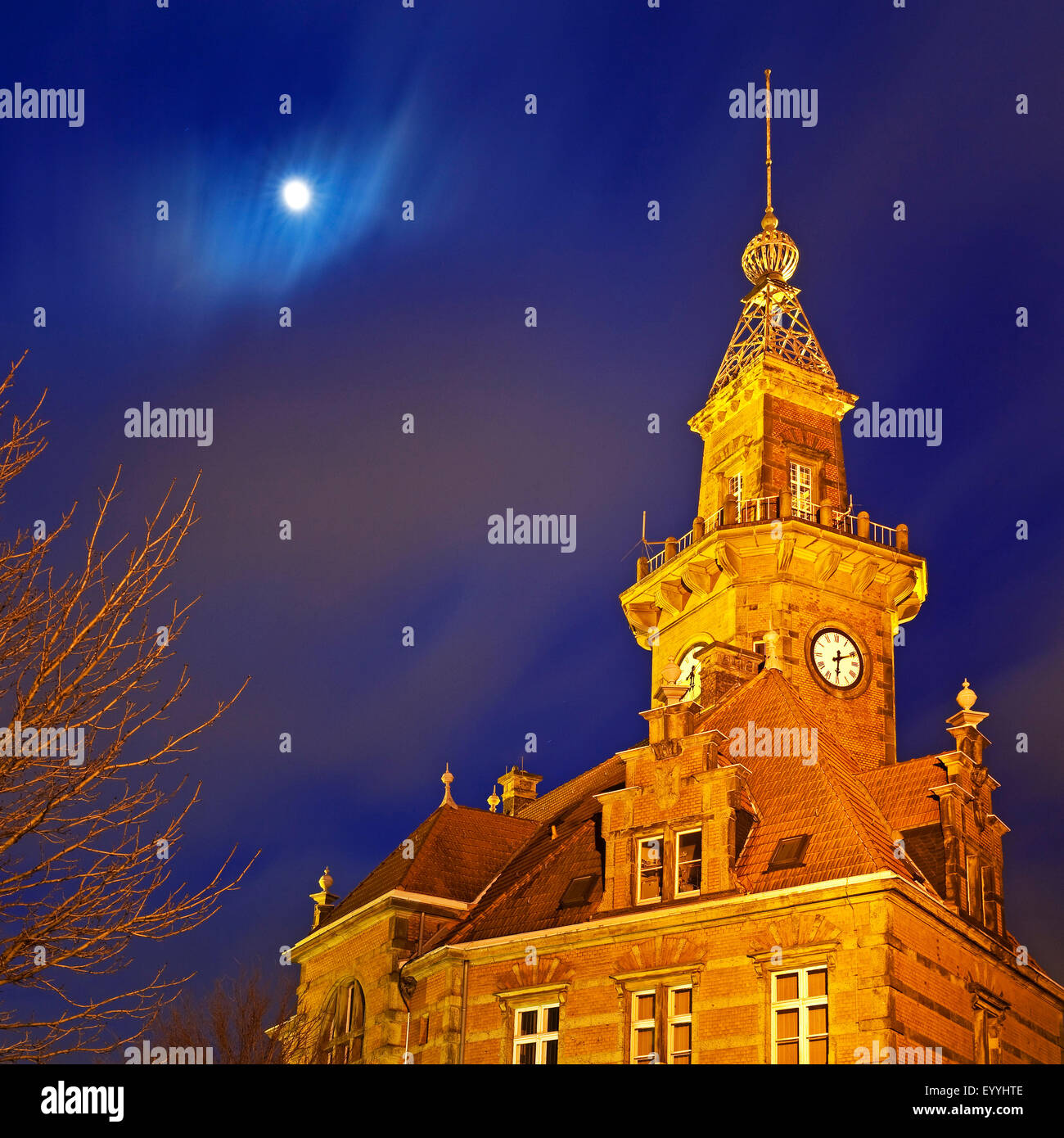 Old Port Authority Building in the evening, Germany, North Rhine-Westphalia, Ruhr Area, Dortmund - Stock Image