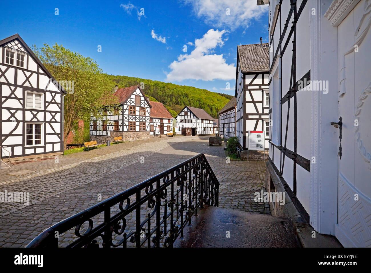 half-timbered houses of Hagen Open-air Museum, Germany, North Rhine-Westphalia, Ruhr Area, Hagen - Stock Image
