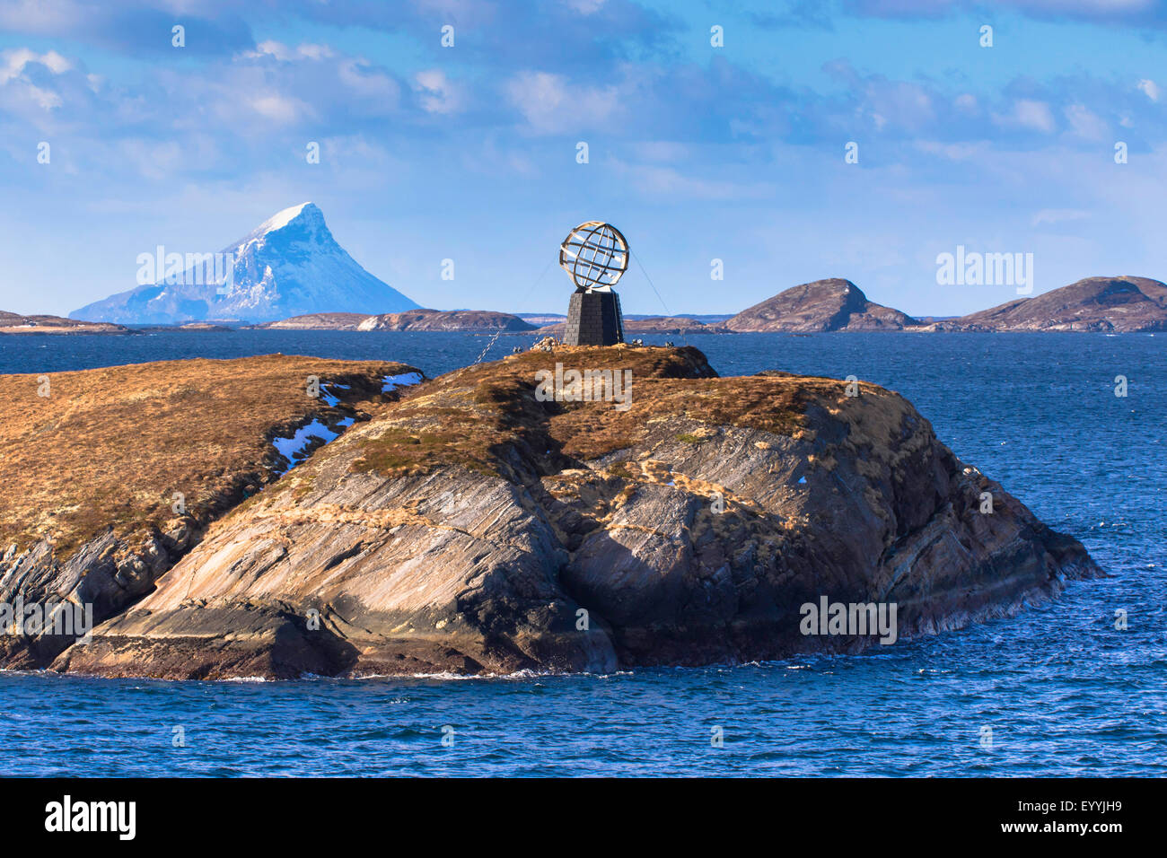 island Vikingen at polar circle, Norway, Nordland, Melfjorden - Stock Image