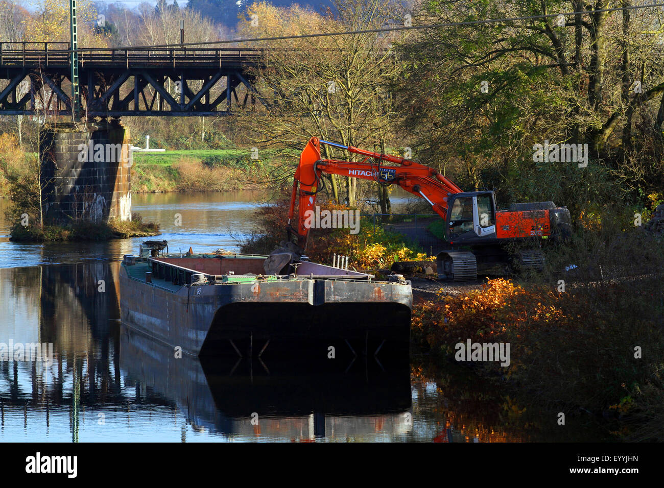 river bank reinforcement, water engineering, Germany - Stock Image