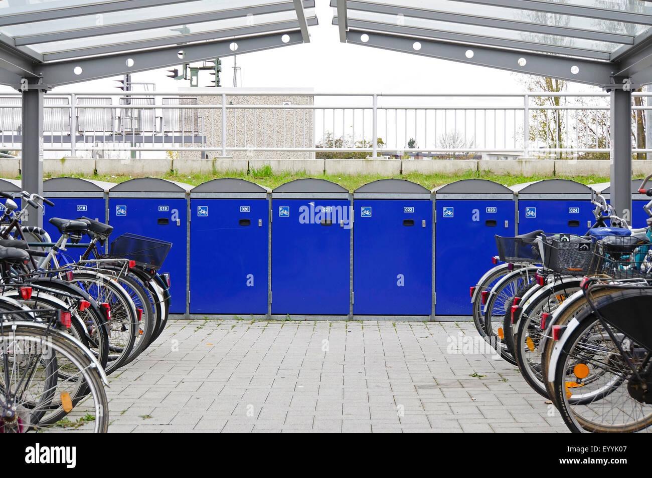 bicycle garage at the railway station, Germany, North Rhine-Westphalia, Euskirchen - Stock Image