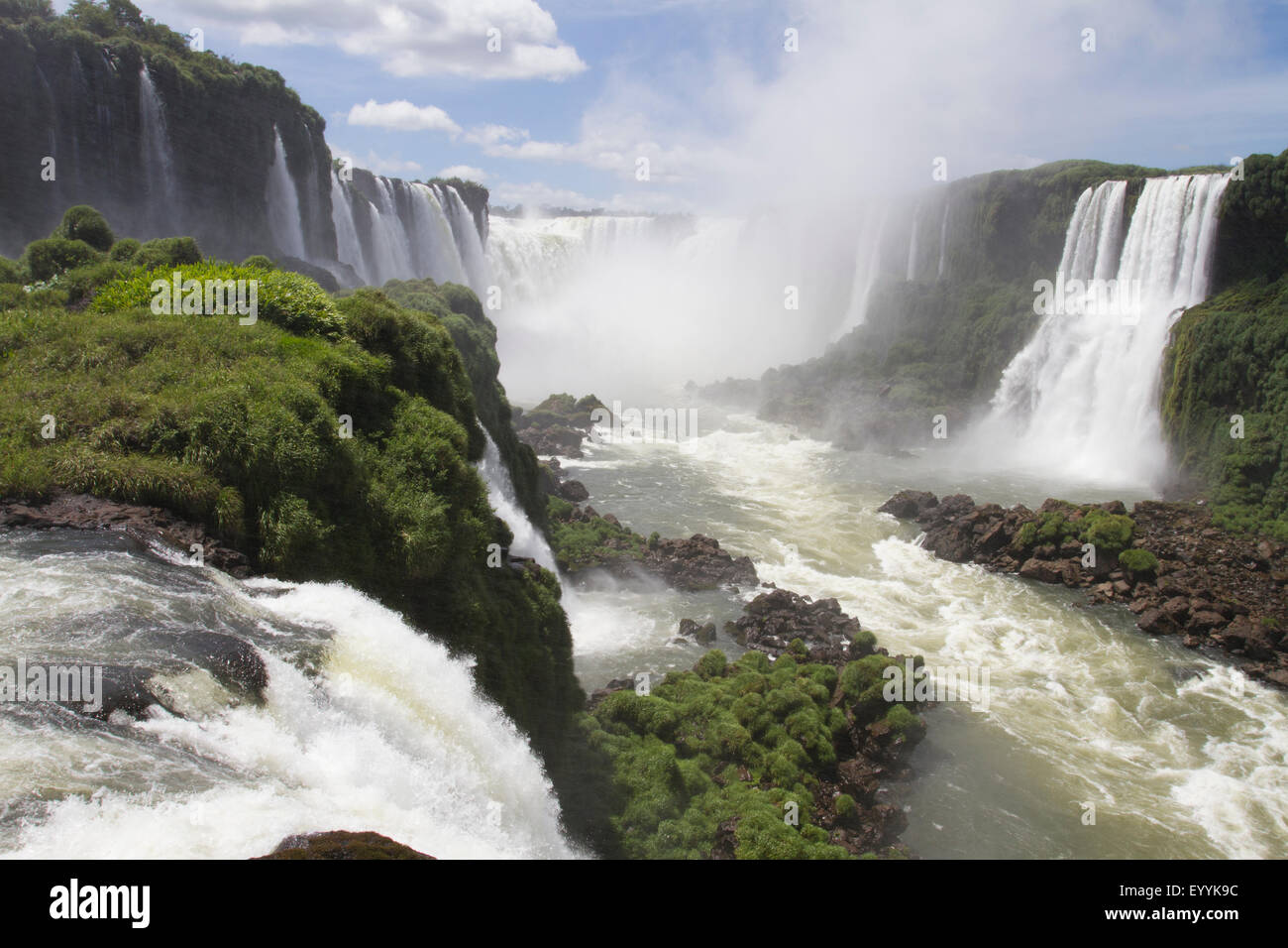 Looking down the devils throat at the Iguassu Falls - Stock Image
