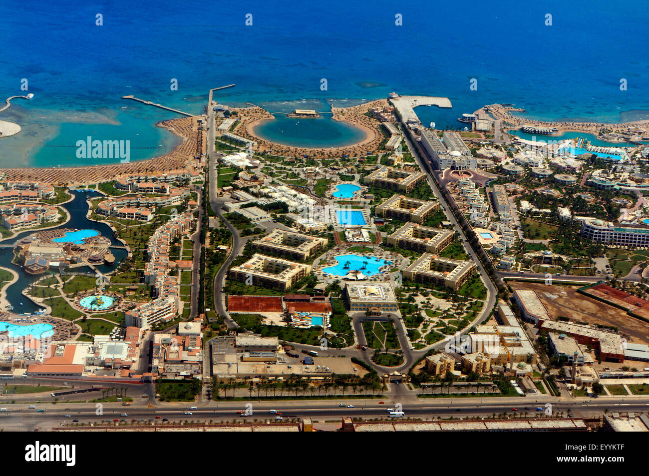 Hotels At The Beach Of The Red Sea Egypt Hurghada Stock Photo