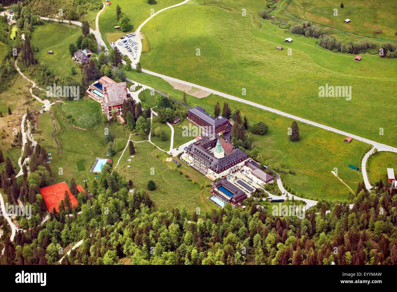 aerial view to Schloss Elmau, 41st G7 summit 2015, 01.06.2015, Germany, Bavaria, Oberbayern, Upper Bavaria, Klais - Stock Image