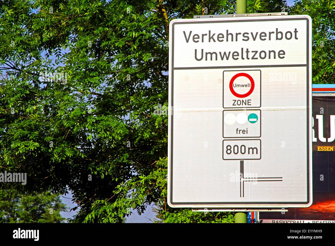sign marking a German Low Emission Zone, Germany, North Rhine-Westphalia - Stock Image