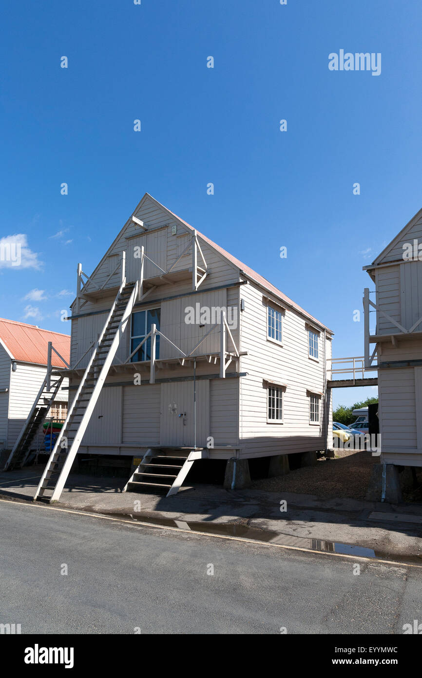 The renovated wooden sail lofts at Tollesbury Saltings on the coast of Essex Stock Photo