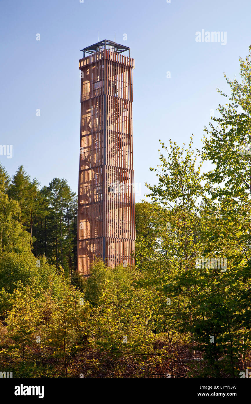 lake Moehne tower in the Arnsberg Forest, watch tower at the barrage, Germany, North Rhine-Westphalia, Sauerland - Stock Image