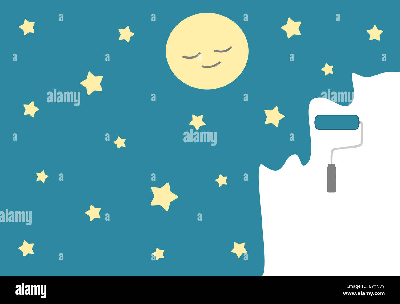 paint your night cute cartoon concept illustration - Stock Image