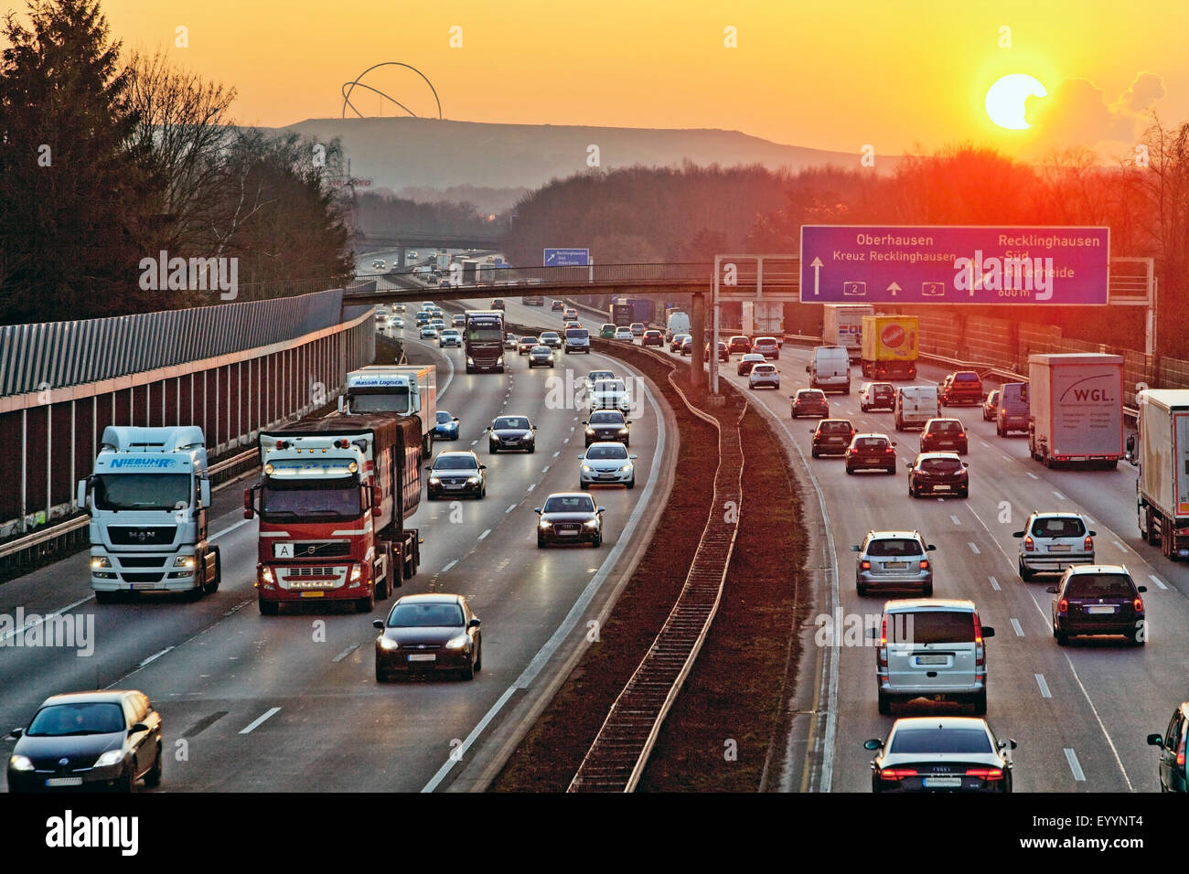 motorway A2 and Hoheward Tip in evening light, Germany, North Rhine-Westphalia, Ruhr Area, Recklinghausen Stock Photo