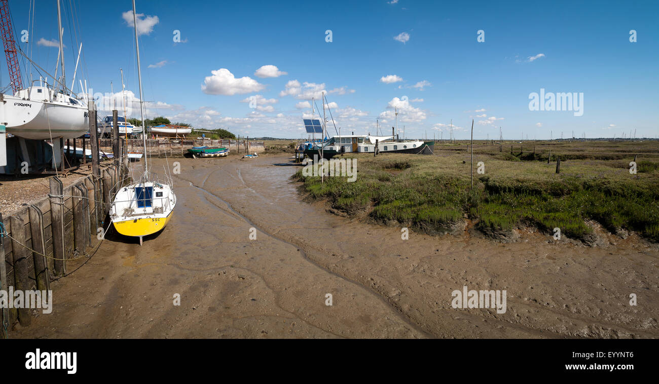 Tollesbury Saltings on the Essex coast at low tide Stock Photo