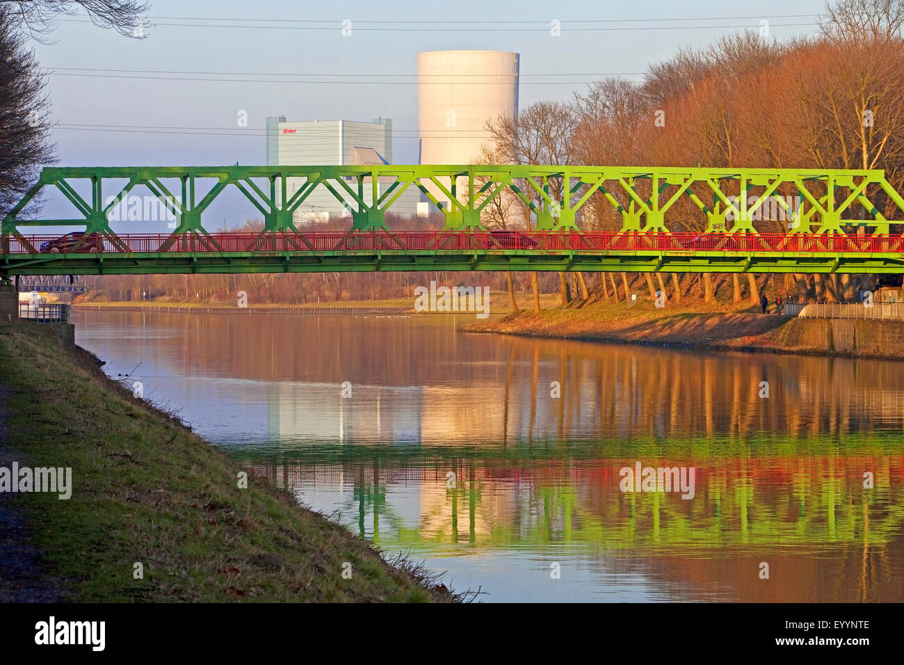 Lucas bridge and Dortmund Ems Canal, E.ON power plant in background, Germany, North Rhine-Westphalia, Ruhr Area, - Stock Image