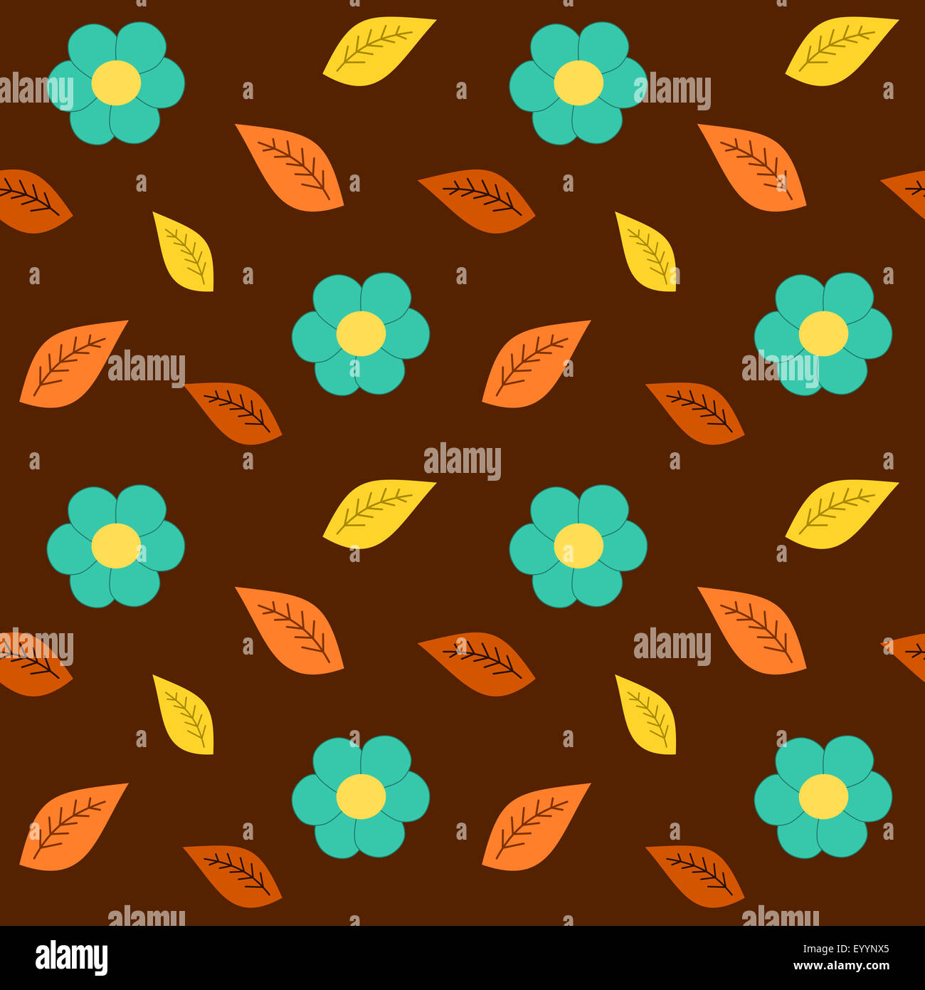Brown Yellow Blue Flowers Seamless Pattern Background Fall Stock
