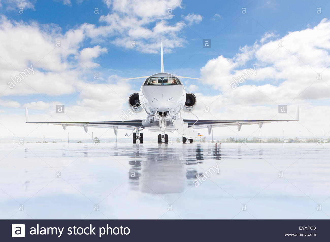 Pilots in private jet - Stock Image