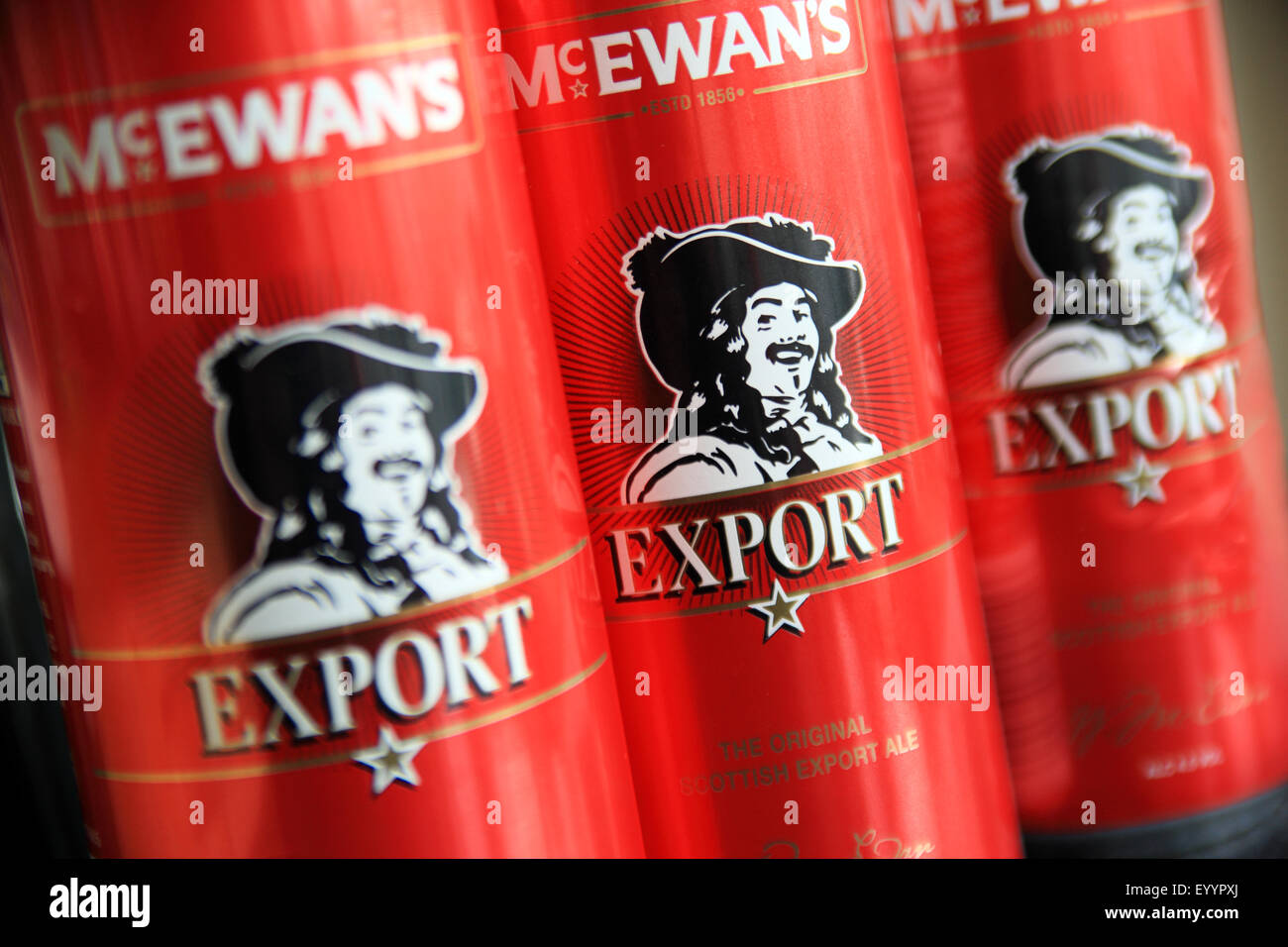 Cans of McEwans Export beer made in Edinburgh Scotland - Stock Image