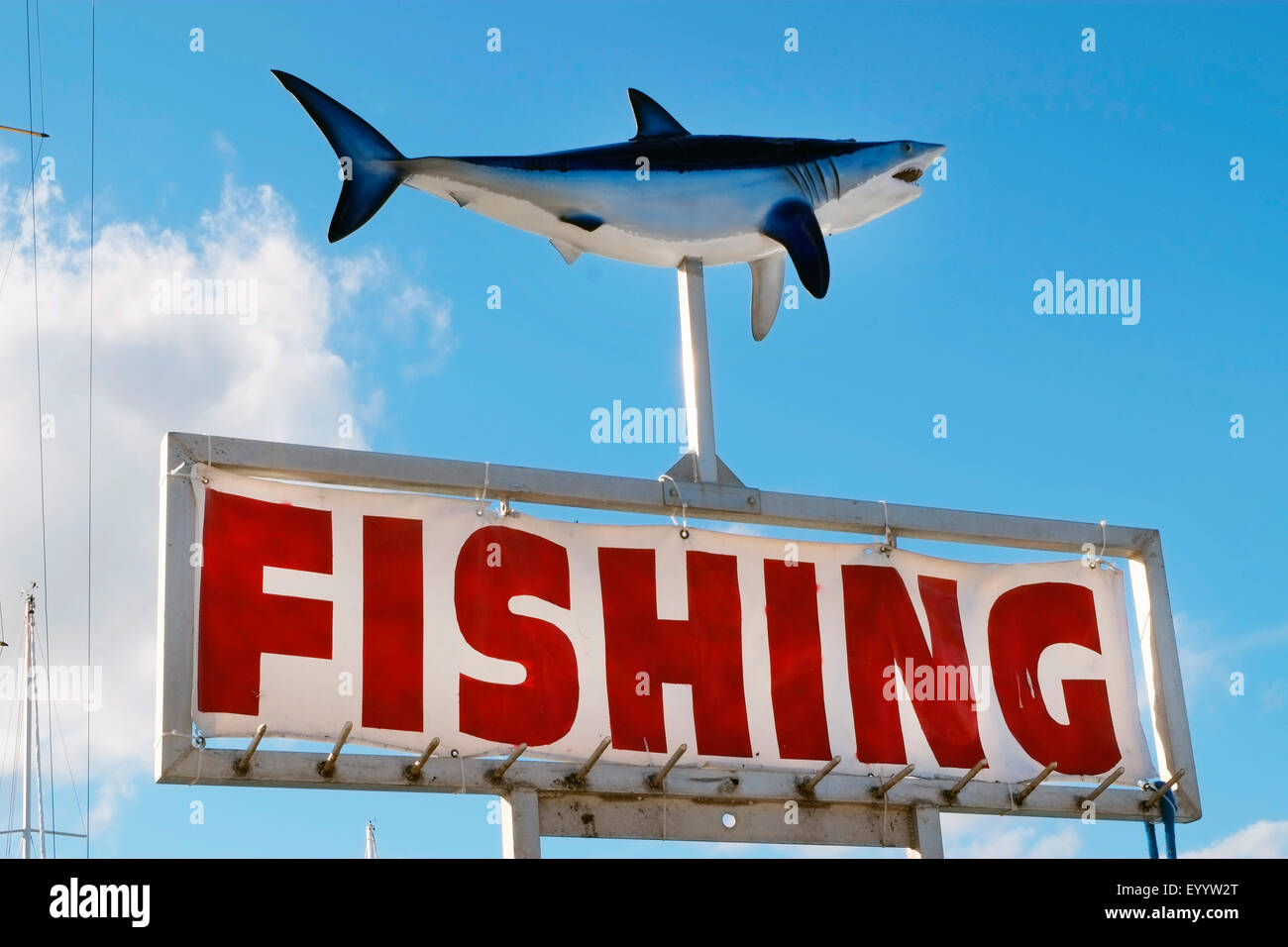 FISHING SIGN WITH SHARK,FORT LAUDERDALE,FLORIDA,USA Stock Photo