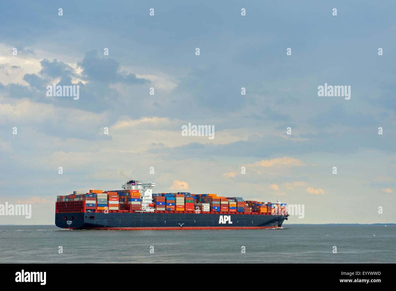 cargo ship in the North Sea, Germany, Lower Saxony, Elbe, Cuxhaven - Stock Image