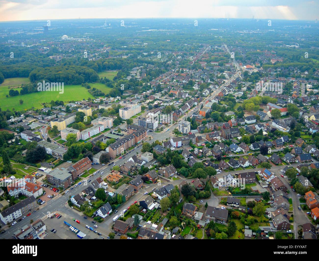 aerial view to Sterkrader Road, L 155, Germany, North Rhine-Westphalia, Ruhr Area, Bottrop - Stock Image