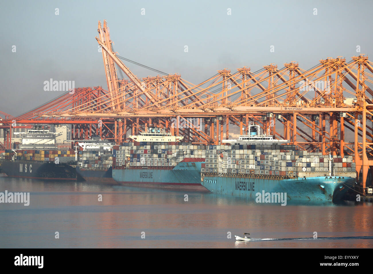Maersk container ship berthing at Salalah Oman Middle east Stock Photo