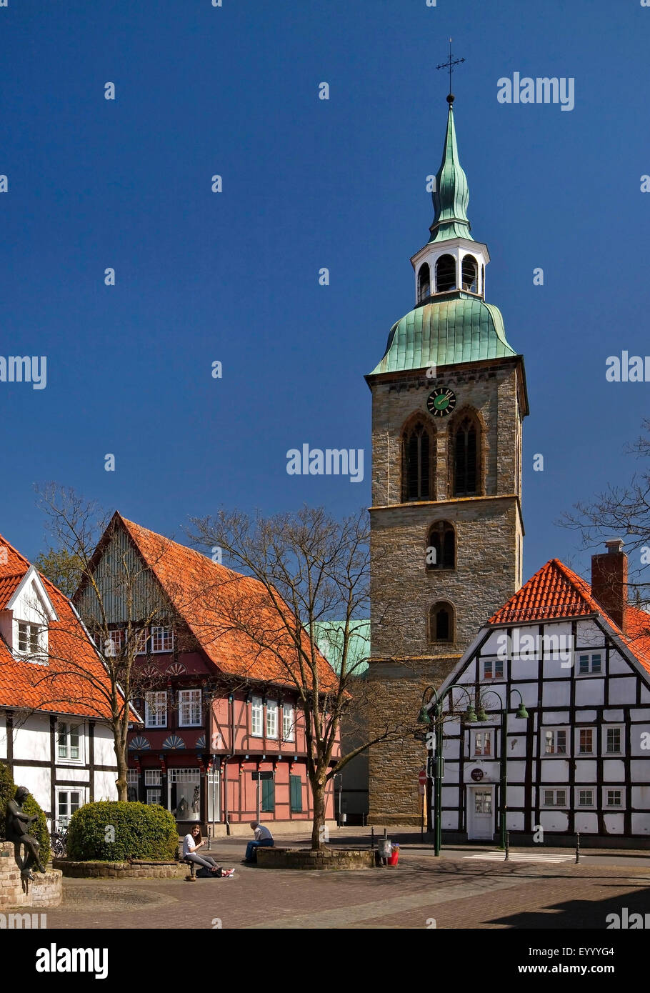 historic old town of Wiedenbrueck with church St. Aegidius, Germany, North Rhine-Westphalia, East Westphalia, Rheda - Stock Image