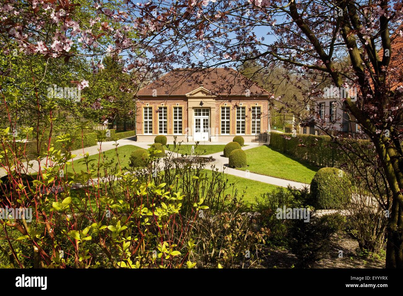 Castle Rheda, orangery in the palace garden, Germany, North Rhine-Westphalia, East Westphalia, Rheda-Wiedenbrueck - Stock Image