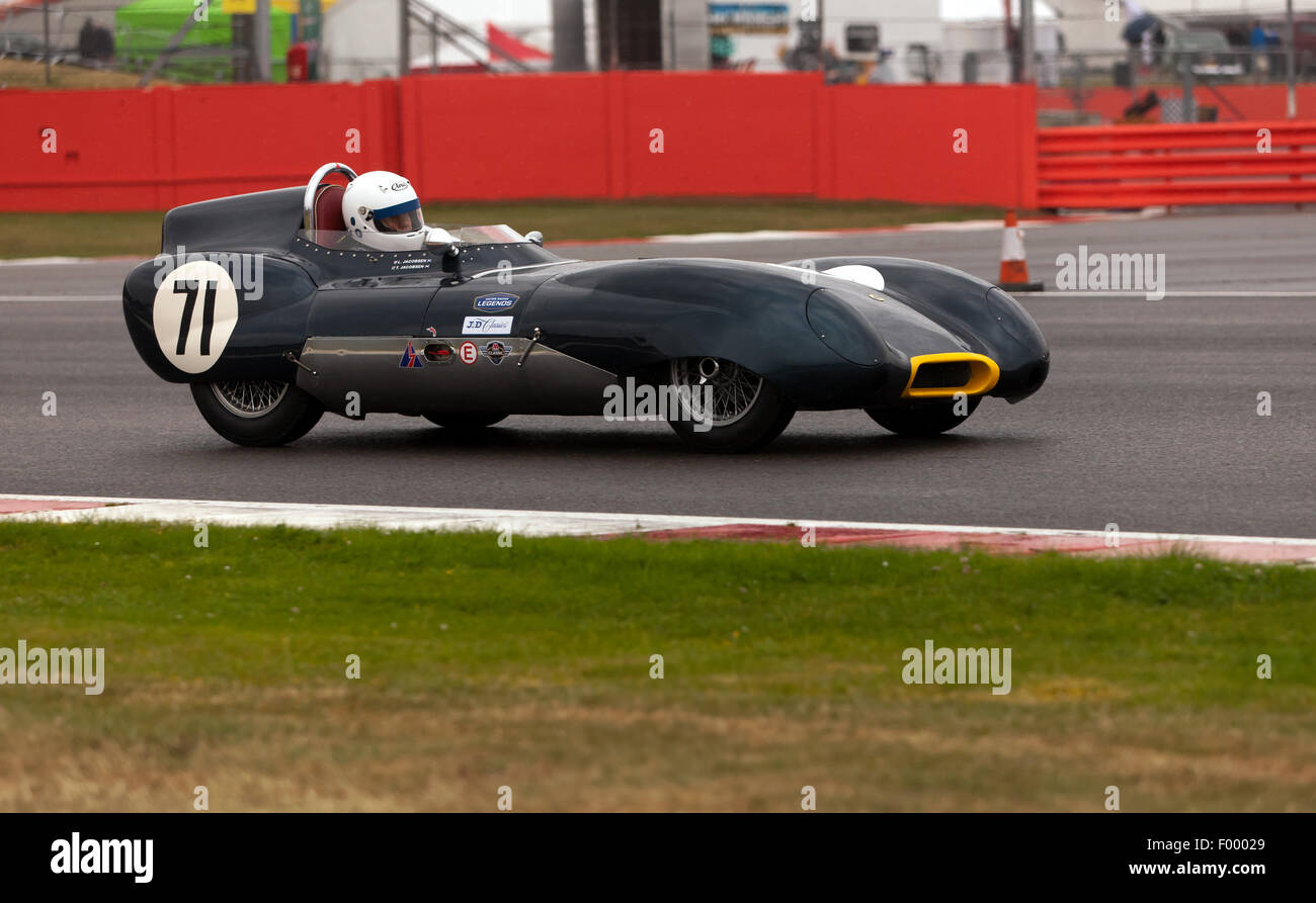 A 1956, Lotus XI S1, qualifying for the Stirling Moss Trophy for pre' 61 Sports Cars at the Silverstone Classic. - Stock Image