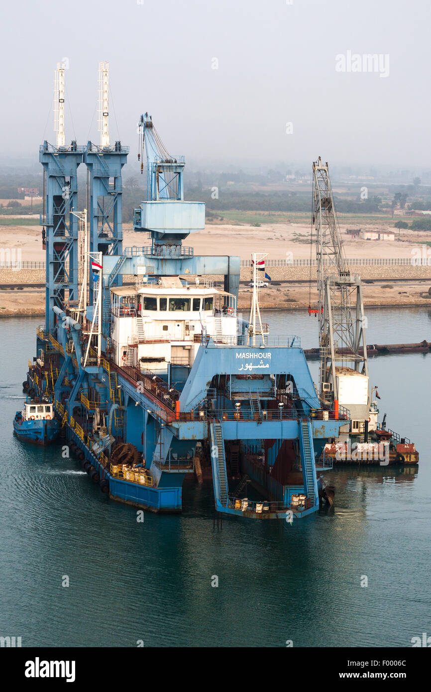 MASHHOUR. Type. Cutter Suction Dredger. In use Suez canal Egypt. Stock Photo