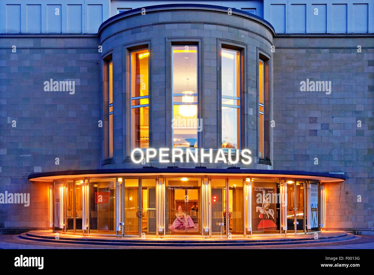 Wuppertal Opera House in Barmen at blue hour, Germany, North Rhine-Westphalia, Bergisches Land, Wuppertal Stock Photo