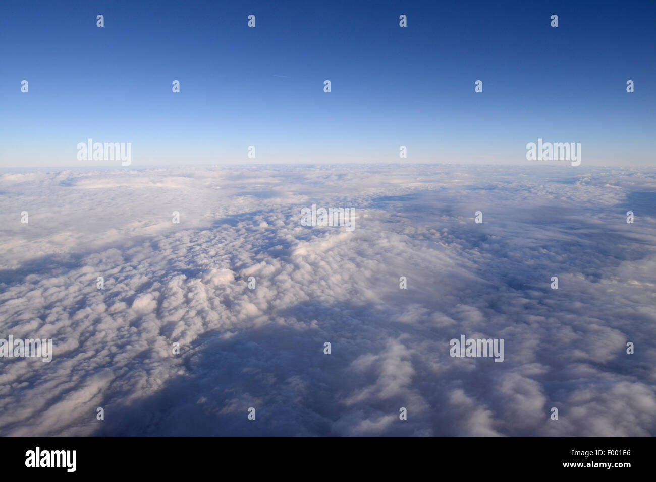 cloudy sky over Madagascar, view from airplane, Madagascar - Stock Image