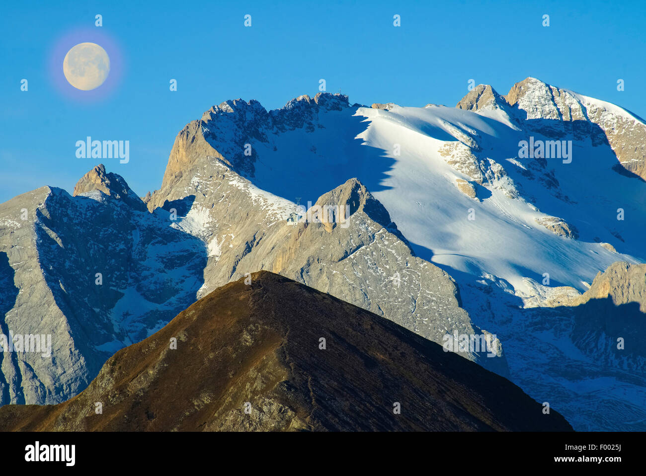 view to Monte Pore and Marmolata at full moon, Italy, South Tyrol, Dolomiten - Stock Image