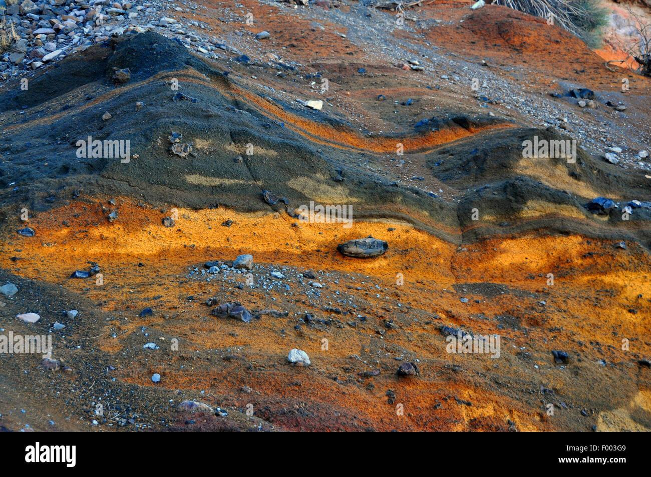 lava layers at  Caldera de Taburiente, Canary Islands, La Palma, np cal Stock Photo