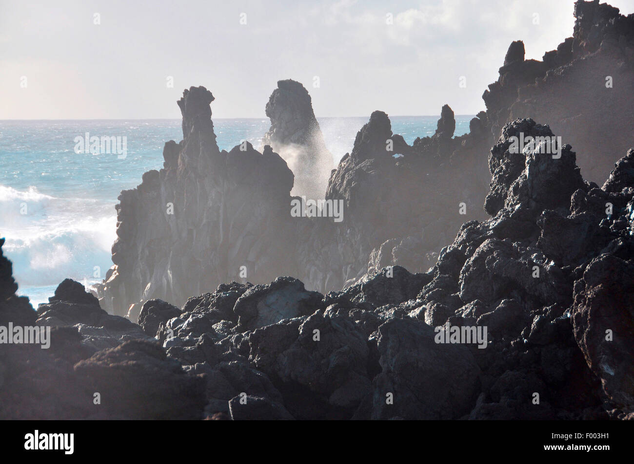 surf at the volcanic rockbound coast , Canary Islands, La Palma - Stock Image
