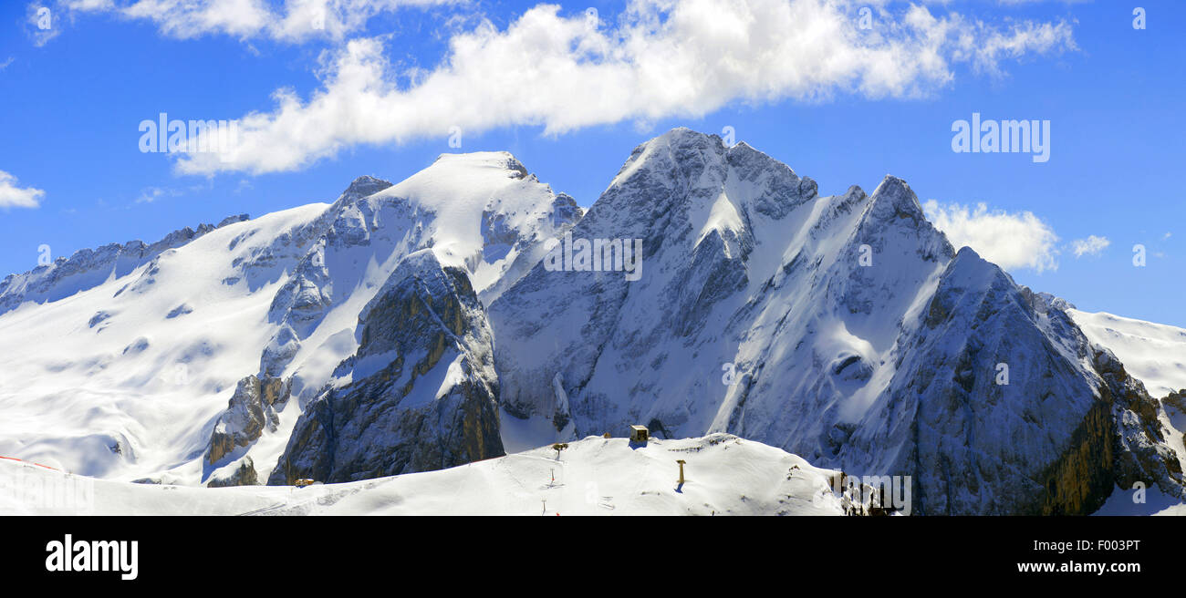 Marmolada in winter, Italy, South Tyrol, Dolomites - Stock Image